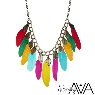 View Item Neon Feather Necklace